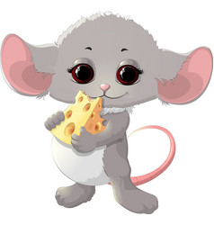 Beautiful mouse with cheese vector
