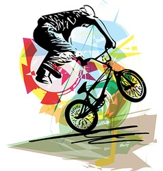 Bicycle rider on abstract background vector