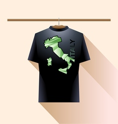 Black shirt with green italy logo country vector