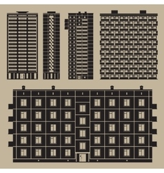 Buildings set with block houses vector