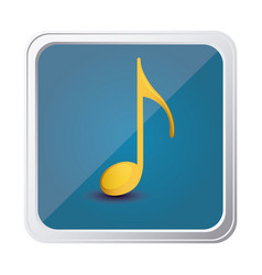 Button of sign eighth note in yellow with vector