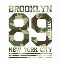camouflage typography for t-shirt print new york vector image