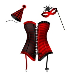 Carnival corset with hat and mask vector