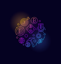 Colorful cryptocurrency circular symbol vector
