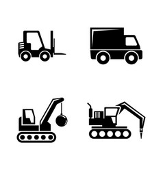 Construction vehicles simple related icons vector