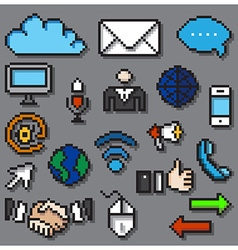 Digital pixel communication icons set vector