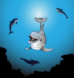 dolphins playing the sea vector image