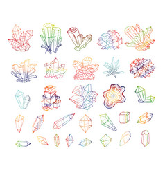 Doodle sketch colored crystals collection of vector