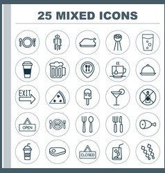 Eating icons set collection of kitchenware vector
