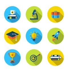 flat icons of elements and objects for high school vector image