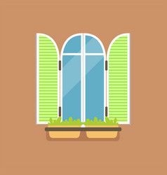 Flat window with green shutters and potted flowers vector