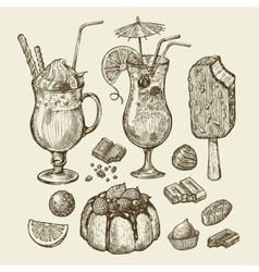 Food and drinks Hand drawn cocktail smoothie vector image