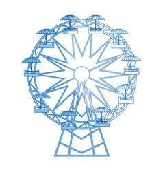 Funfair with ferris wheel amusement and carnival vector
