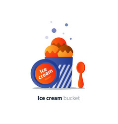 Ice cream bucket dessert three scoops tasty flavor vector