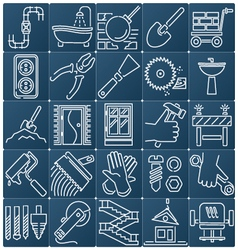 Icons on the construction and repair vector