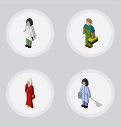 isometric human set of housemaid doctor plumber vector image