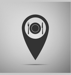 Map pointer with restaurant icon icon isolated vector