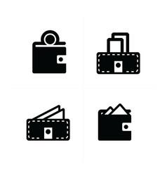 money in wallet set 4 icon vector image