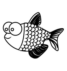 monochrome silhouette of fish with big eyes and vector image vector image