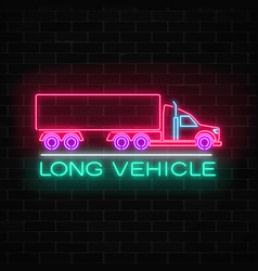 Neon glowing long vehicle sign on a brick wall vector