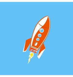 Red rocket isolated on blue background vector