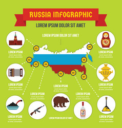Russia infographic concept flat style vector