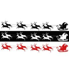 Santa sleigh and reindeers vector