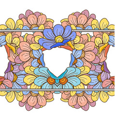 Seamless floral patterned border with flowers vector