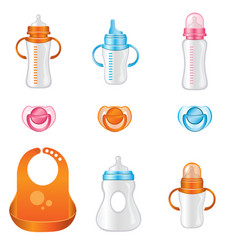 set of different baby bottles vector image vector image