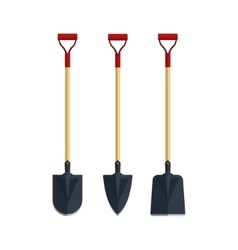 Set shovel spade flat tool icon logo vector