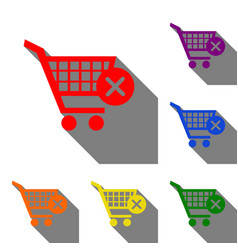 Shopping cart with delete sign set of red orange vector
