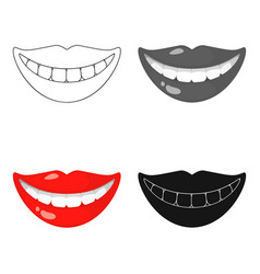Smile with white teeth icon in cartoon style vector