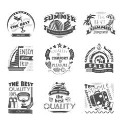 Summer holiday vacation labels set black vector image vector image