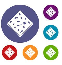 Tofu fresh block icons set vector