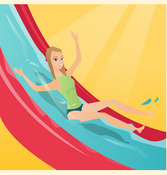 Young caucasian woman riding down a waterslide vector
