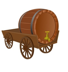 Cart with a keg vector