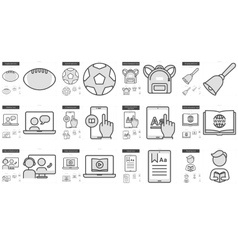 Education line icon set vector