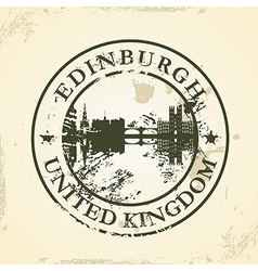 Grunge rubber stamp with edinburgh united kingdom vector