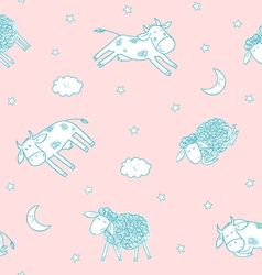 Childrens seamless pattern with cute sheeps and vector