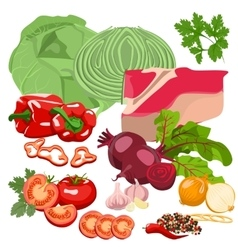 Meat and vegetables vector