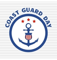 Symbol of coast guard on grey stripe background vector