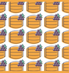 Barrel of wine with grape background vector