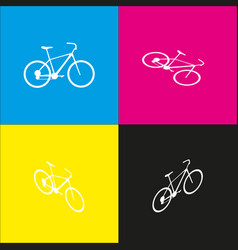 Bicycle bike sign white icon with vector