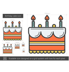 Birthday cake line icon vector