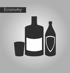 black and white style icon alcohol bottles vector image vector image