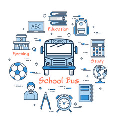 blue round school bus concept vector image vector image