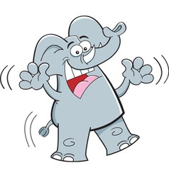 Cartoon happy elephant jumping vector image vector image