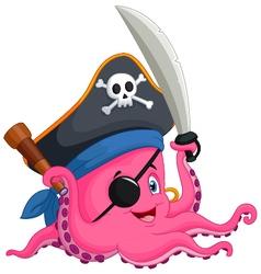 Cartoon pirate octopus vector image