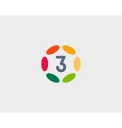 Color number 3 logo icon design hub frame vector