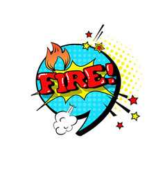 comic speech chat bubble pop art style fire vector image vector image